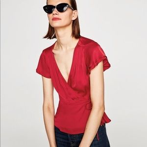 Zara Satin Crossover Blouse Red Size XS